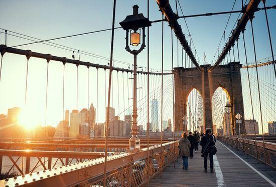 布鲁克林大桥夕阳