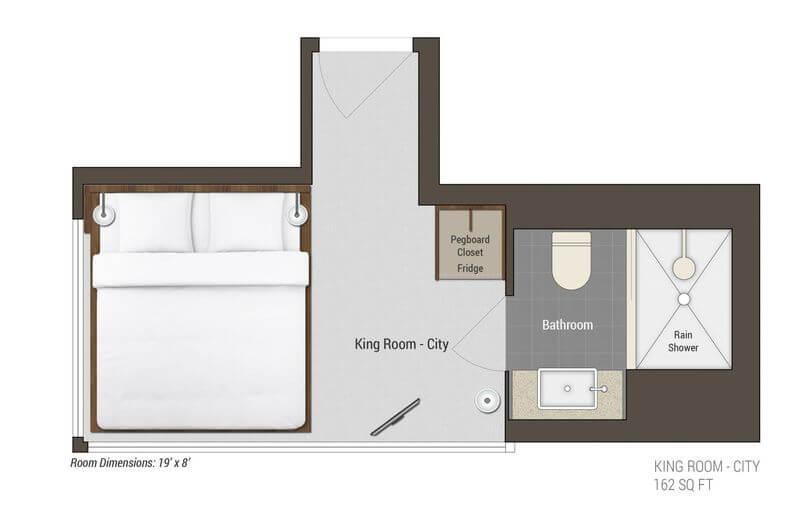 King Room City View layout 市景特大号床间蓝图