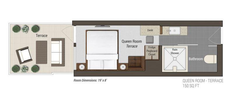 Queen Room Terrace Layout 露台大号床间蓝图