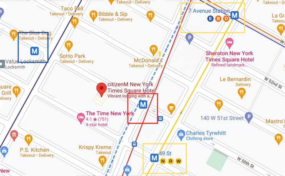 CitizenM New York Times Square 附近地铁站
