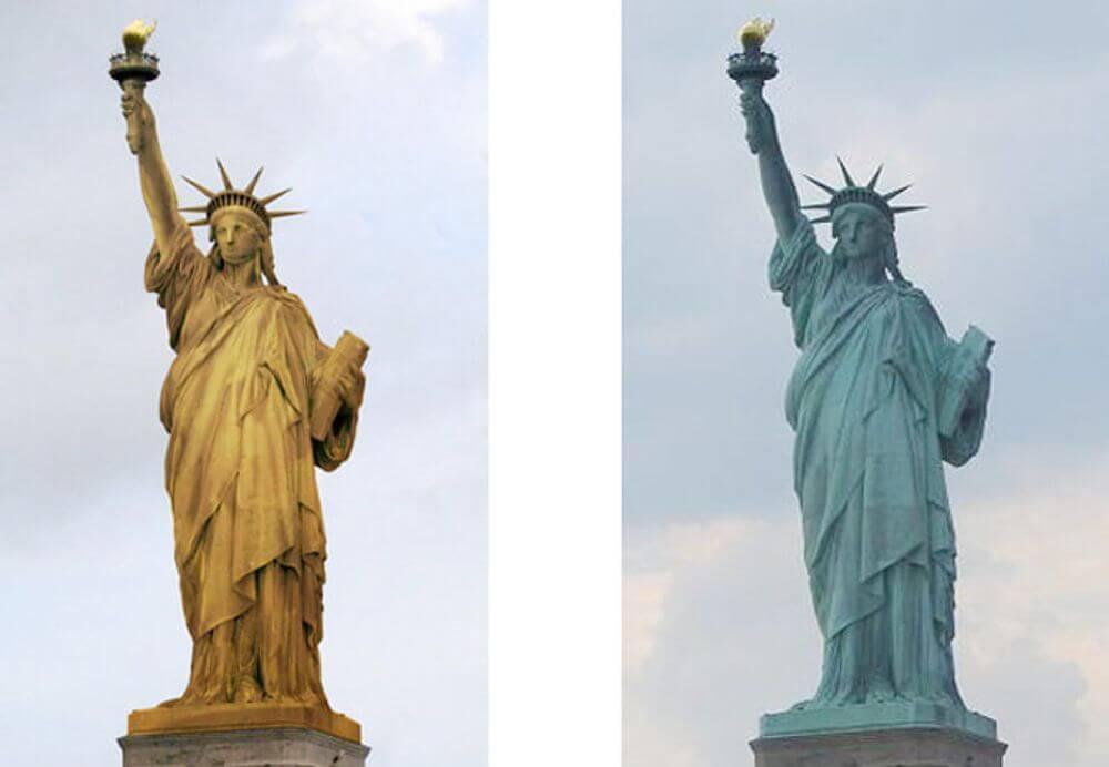 自由女神颜色变化、铜色变绿色